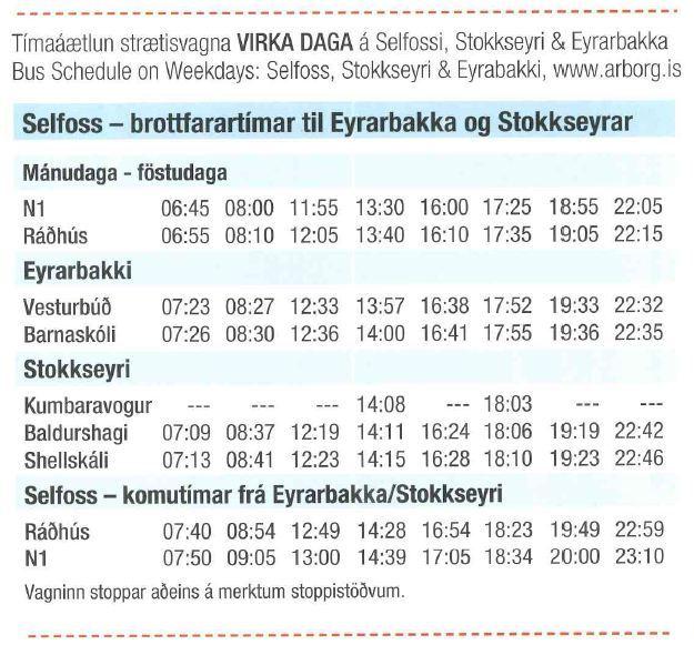 Tímatafla - Strætó